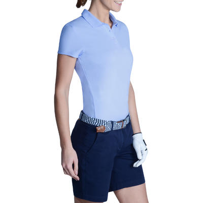 100 Women's Golf Short Sleeve Temperate Weather Polo Shirt - Sky Blue
