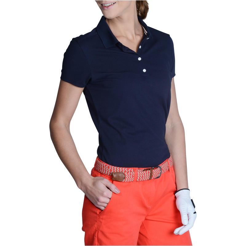 Women's Golf Polo T-Shirt 500 Navy Blue