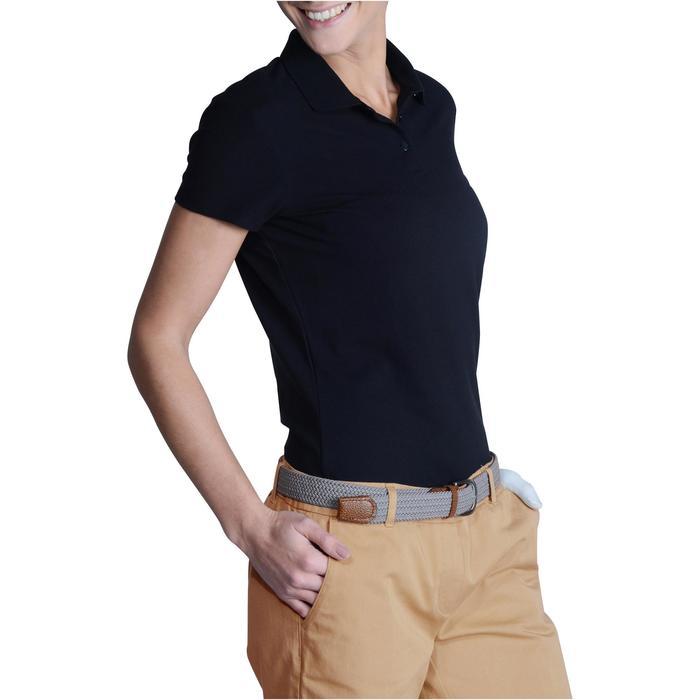 Golf Poloshirt 100 Kurzarm Damen schwarz