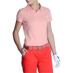 Golfpolo met korte mouwen voor dames 500 gemêleerd perzikroze