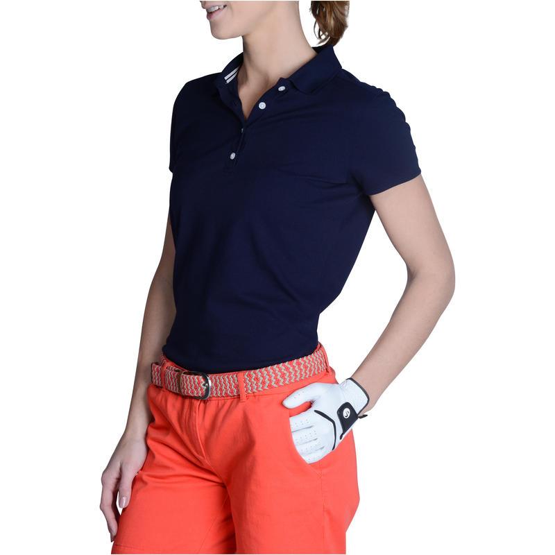 Polera polo de golf mujer manga corta 500 clima caluroso azul marino