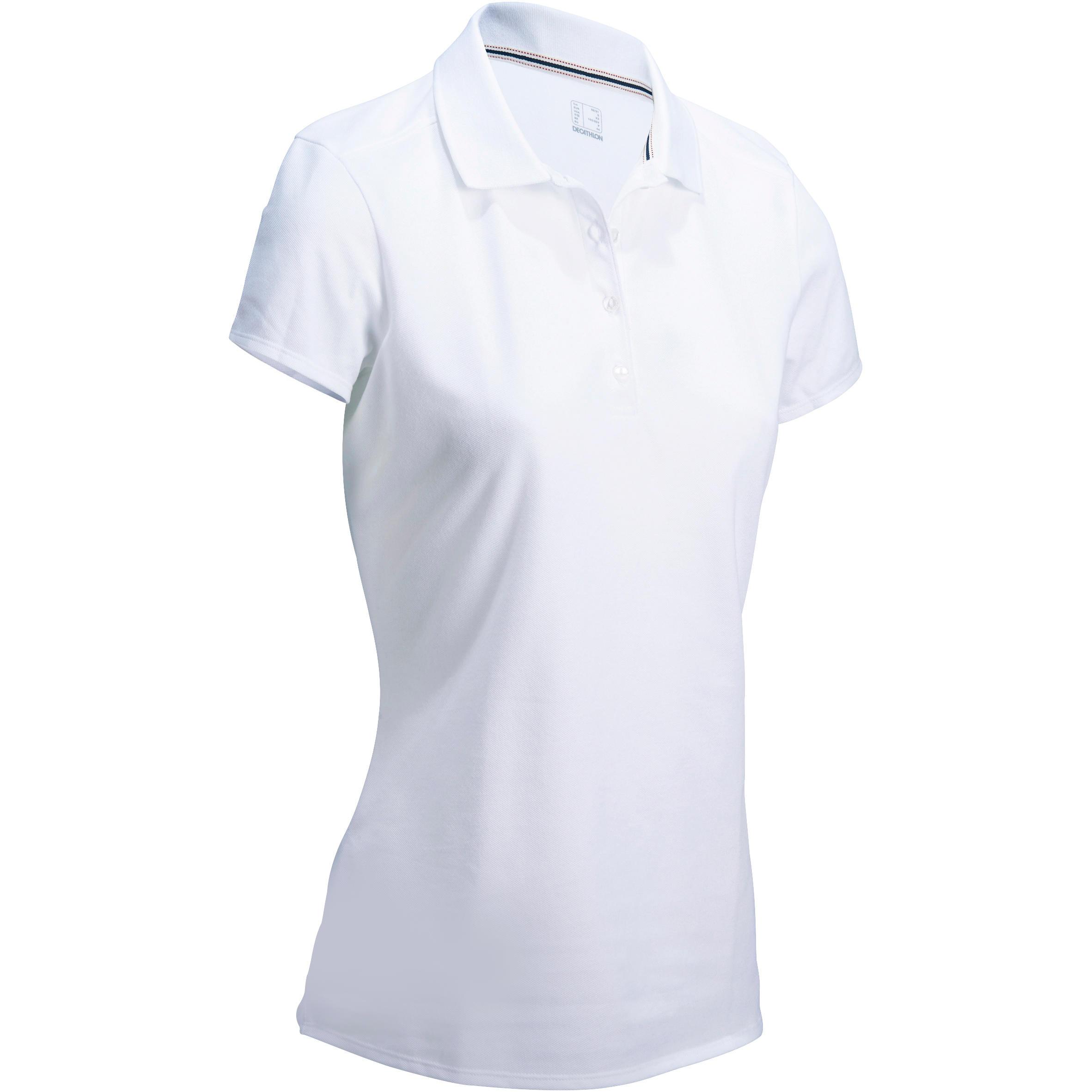 Polo de golf femme manches courtes 500 temps tempéré blanc