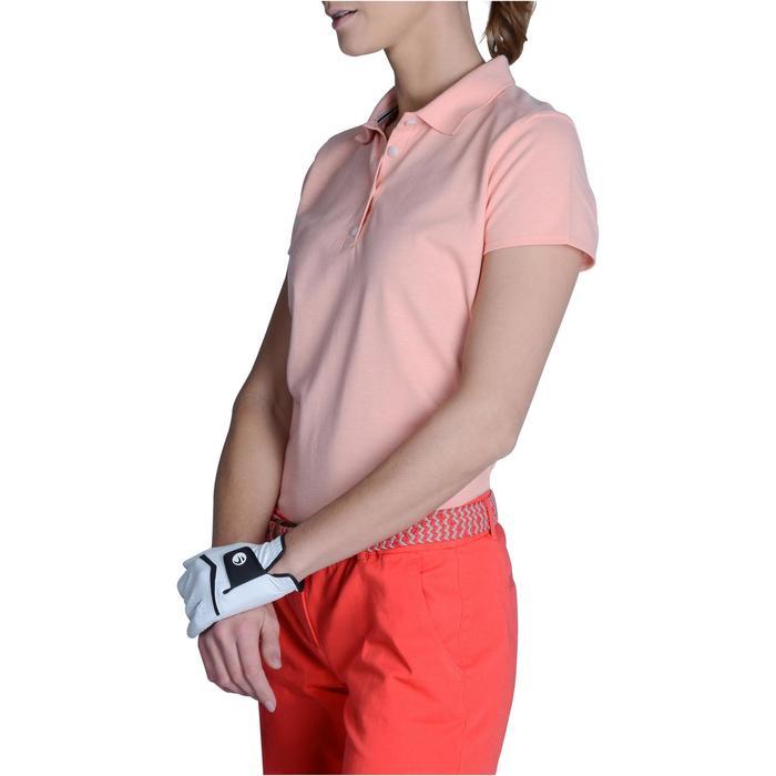 Polo de golf mujer manga corta 500 tiempo templado rosa melocotón jaspeado