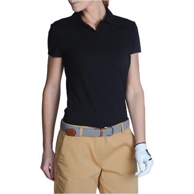 Polo de golf femme manches courtes 100 temps tempéré noir