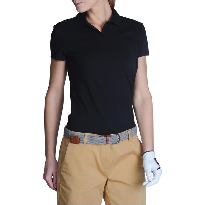 Polo de golf mujer manga corta 100 tiempo templado negro