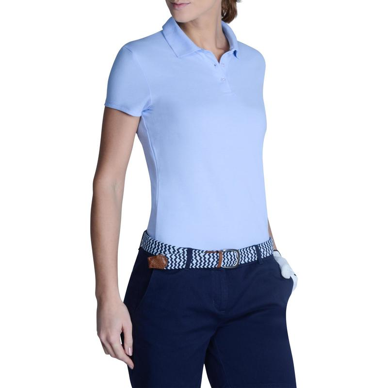 100 Women s Golf Short Sleeve Temperate Weather Polo Shirt - Sky Blue 1edf41039d
