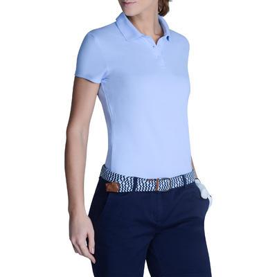 Polo de golf femme manches courtes 100 temps tempéré bleu ciel