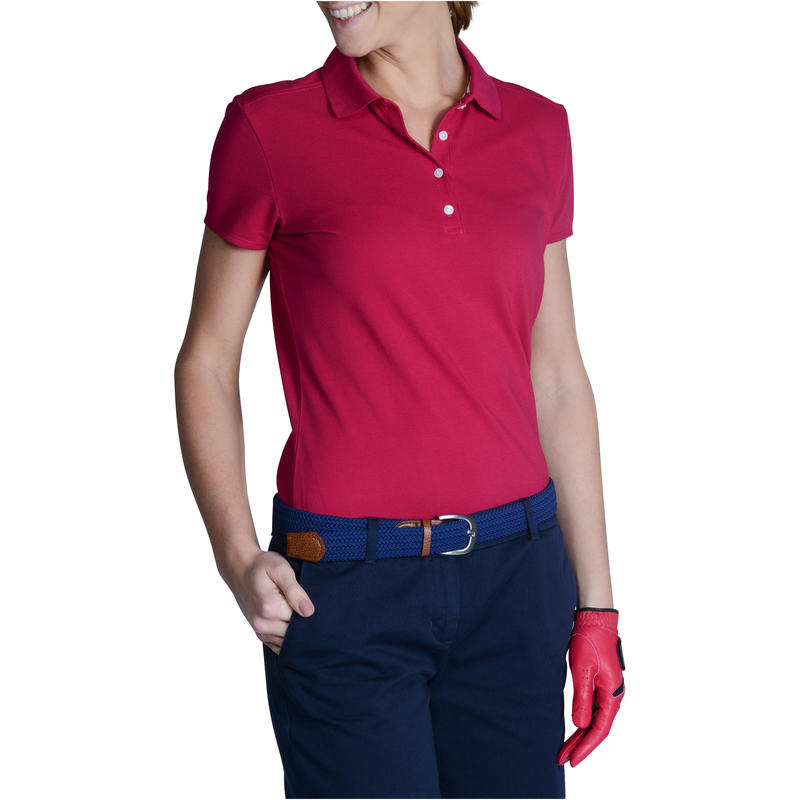 500 Women's Golf Short Sleeve Temperate Weather Polo Shirt - Raspberry