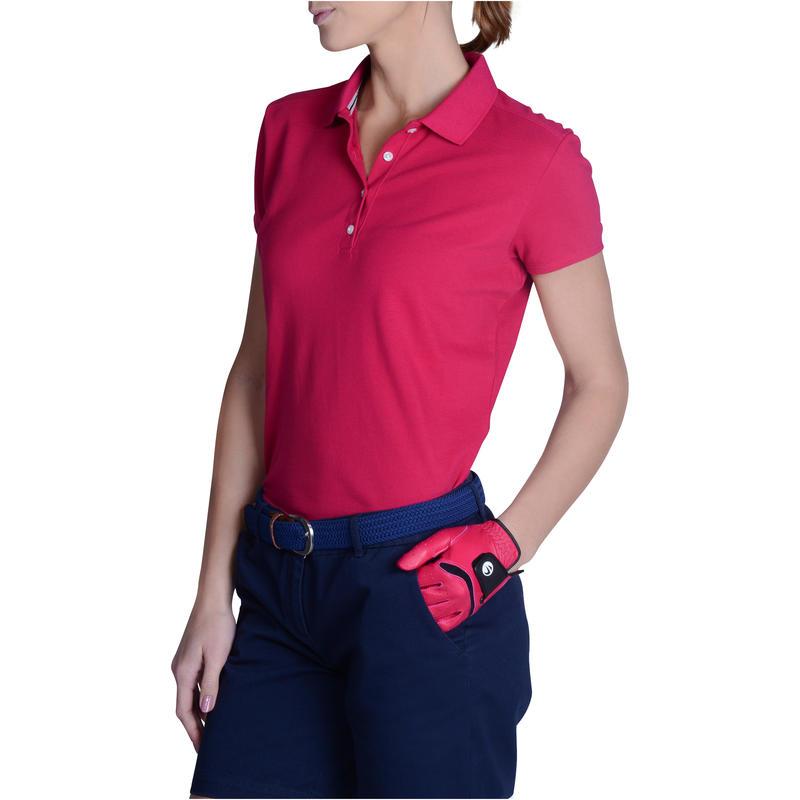 Polera polo de golf mujer manga corta 500 clima caluroso frambuesa
