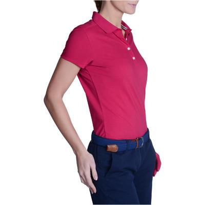 Polo de golf femme manches courtes 500 temps tempéré framboise