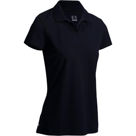 Polo de golf mujer manga corta 100 tiempo templado negro  adabd94cbd2