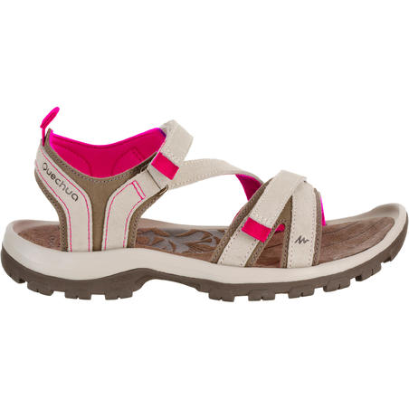 NH120 Women's Country Walking Leather Sandals - Beige