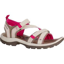 女款郊野健行皮革涼鞋NH120-米色