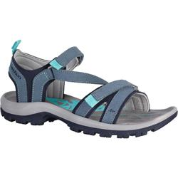 NH120 women's country walking leather sandals – blue / grey