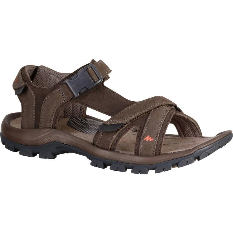 PÁNSKÉ SANDÁLY DO TEPLÉHO POČASÍ Turistika - Sandály NH 120 hnědé QUECHUA - Turistická obuv