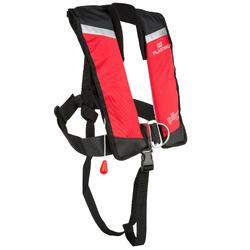 Gilet de sauvetage autogonflant + harnais enfant Pilot PLASTIMO 150 rouge/noir