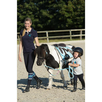 Filet + rênes équitation INITIATION marron et bleu ciel - taille poney