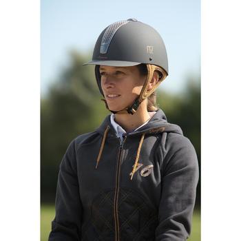 Sweat équitation femme SW500 gris et camel