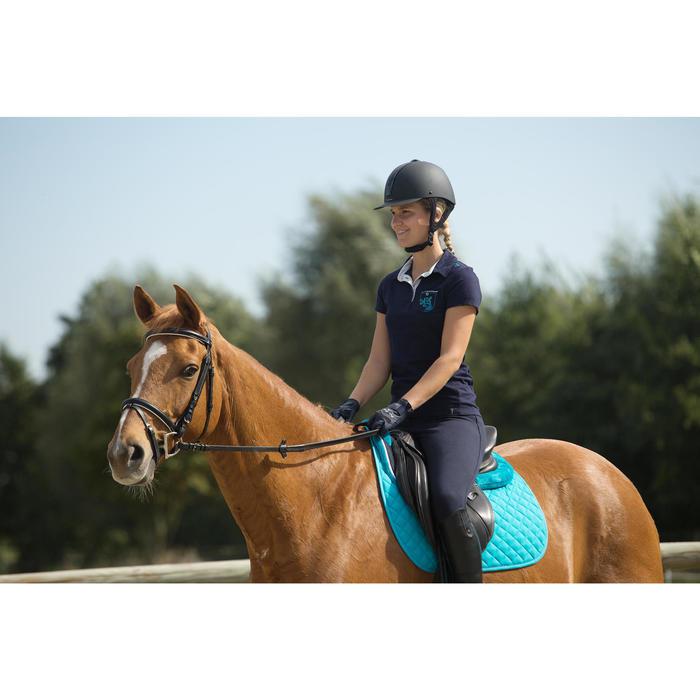 Polo manga corta equitación mujer FLOWER azul marino bolsillo bordado azul turq.
