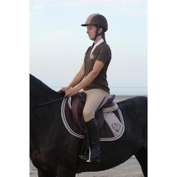Polo manches courtes équitation femme PL500 MESH bleu marine et - 1126444