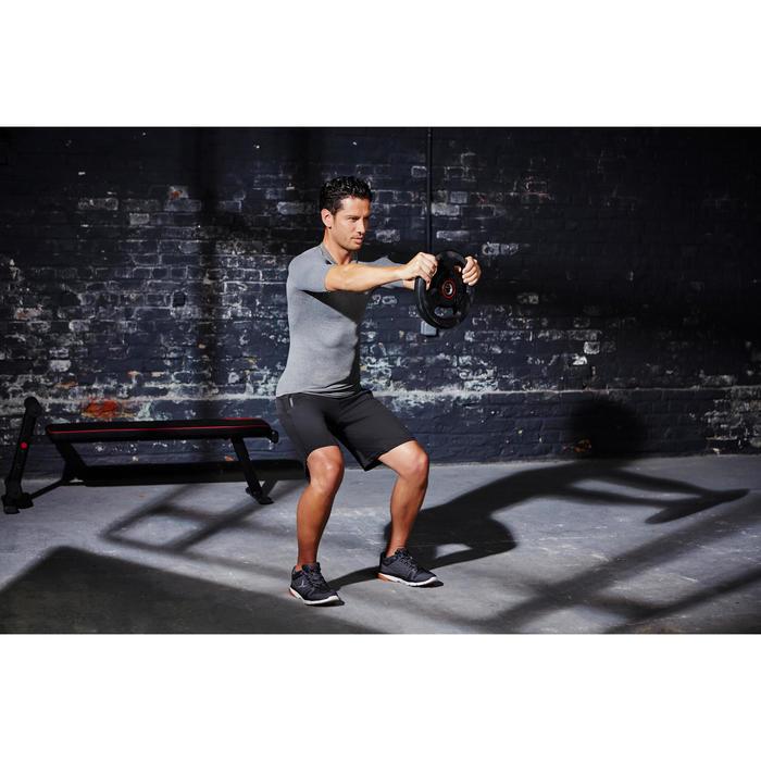 Disque musculation avec poignées 28 mm caoutchouc 10 kg - 1126452