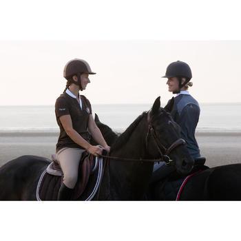 Polo manches courtes équitation femme PL500 MESH bleu marine et - 1126467