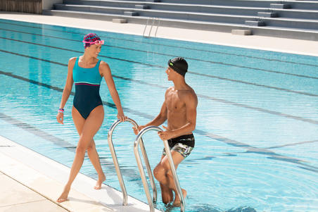 Traje de baño de natación una pieza para mujer Loran gris azul