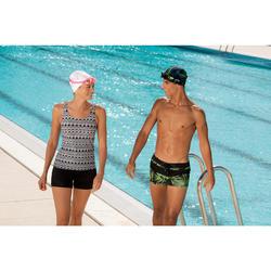 泳鏡100 EASYDOW,L號 - 黑色綠色