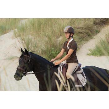 Polo manches courtes équitation femme PL500 MESH bleu marine et - 1126481