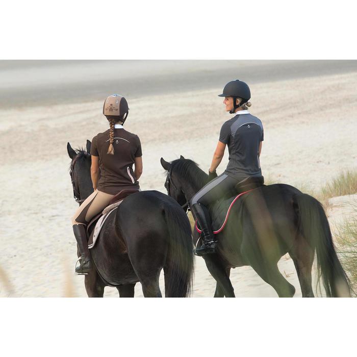 Polo manches courtes équitation femme PL500 MESH bleu marine et - 1126514