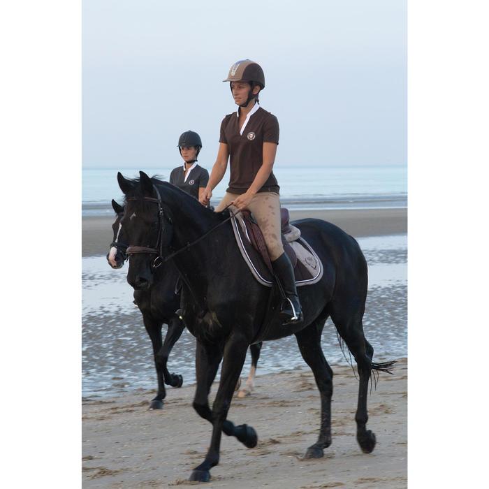 Polo manches courtes équitation femme PL500 MESH bleu marine et - 1126518