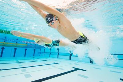 תחתוני שחייה לילדים 900 JAMMER FIRST משושים צהוב