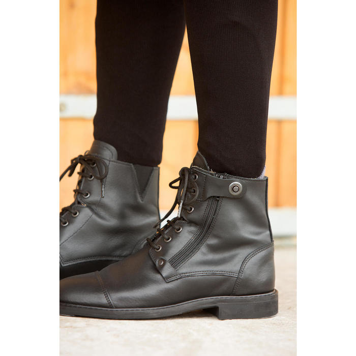 Training 700 Adult Horse Riding Lace-Up Leather Jodhpur Boots - Black