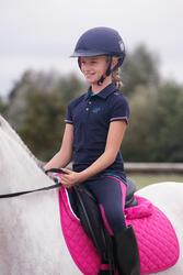 Kinderpolo Horseriding met korte mouwen en borduursel, ruitersport - 1127026