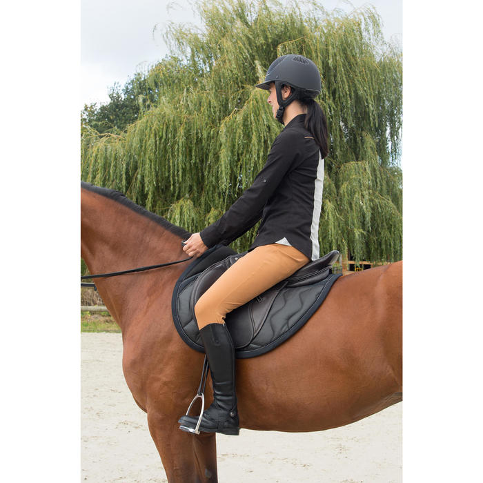 """Selle polyvalente en cuir à arçon réglable équitation cheval PADDOCK 17""""5 - 1127080"""