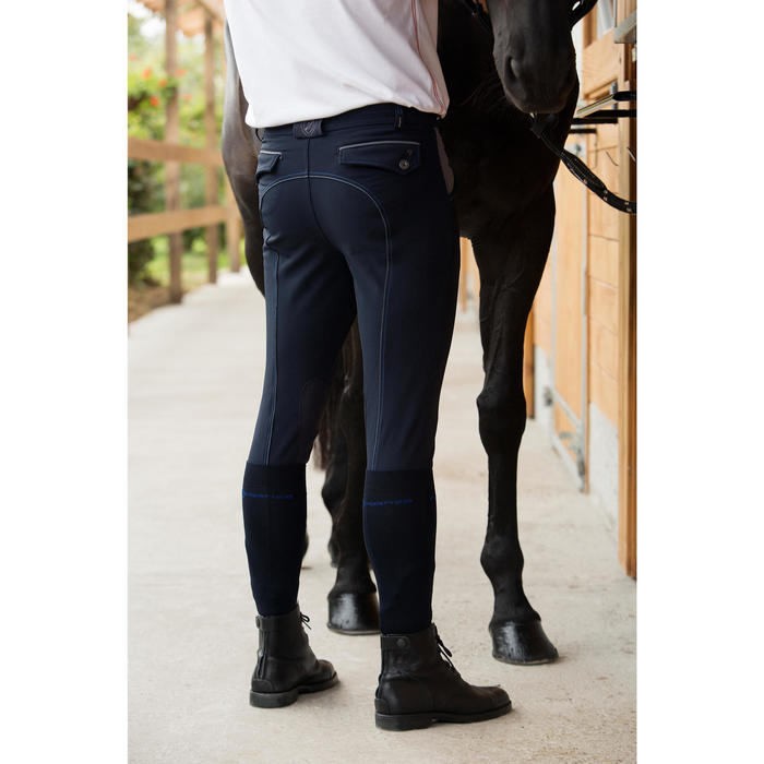 Pantalon équitation homme BR700 basanes gris et chevron - 1127125