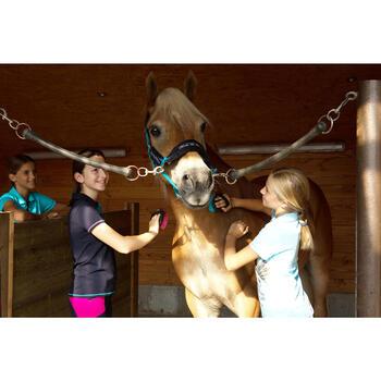 Polo manches courtes équitation enfant brodé HORSERIDING marine - 1127158
