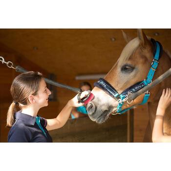 Polo manches courtes équitation enfant brodé HORSERIDING marine - 1127163