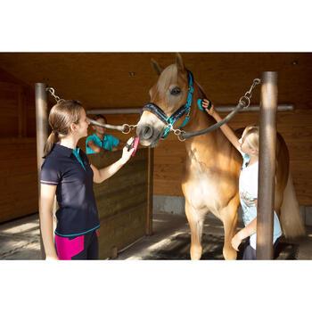 Kinderpolo Horseriding met korte mouwen en borduursel, ruitersport, marineblauw