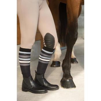 Meias de Equitação de Adulto SKS100 Preto Riscas Branco e Cinza