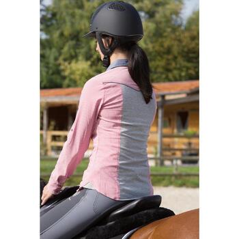 Chemise équitation femme PERFORMER rose rayé gris - 1127233