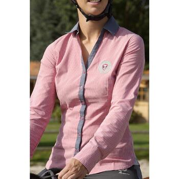 Chemise équitation femme PERFORMER rose rayé gris - 1127245