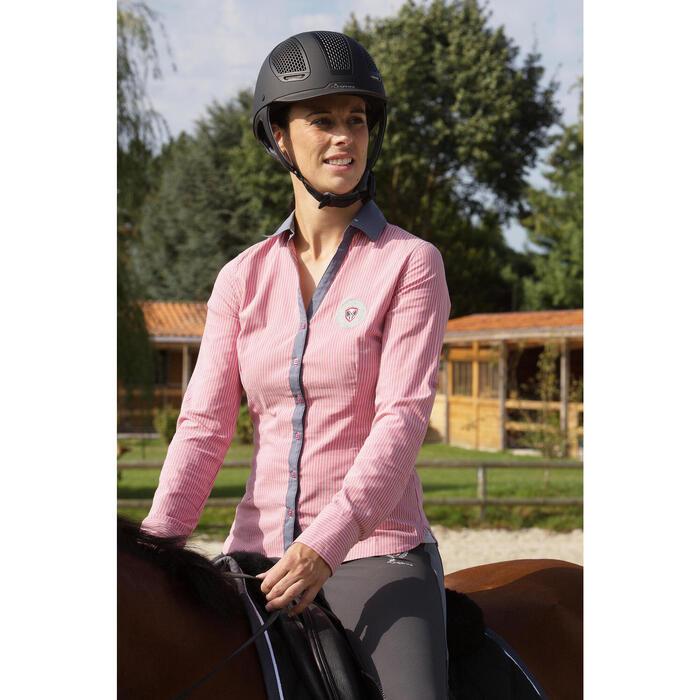 Chemise équitation femme PERFORMER rose rayé gris - 1127251