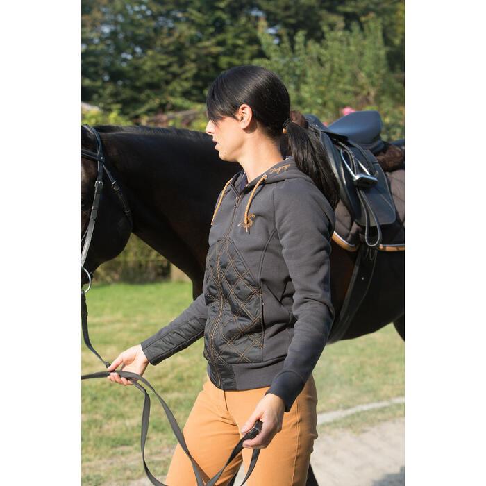 Sudadera equitación mujer SW500 gris y camel