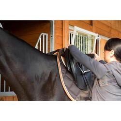 "Silla mixta de cuero con arzón ajustable equitación caballo PADDOCK negro 17""5"