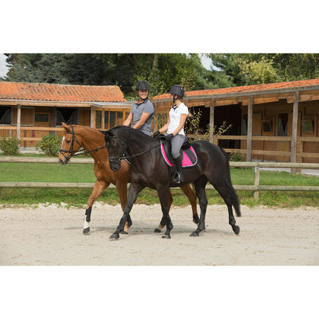 Tapis de selle quitation jump rose taille cheval fouganza Tapis cheval decathlon