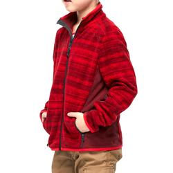 Hike 200 Boys' Hiking Fleece Jacket - Printed Red