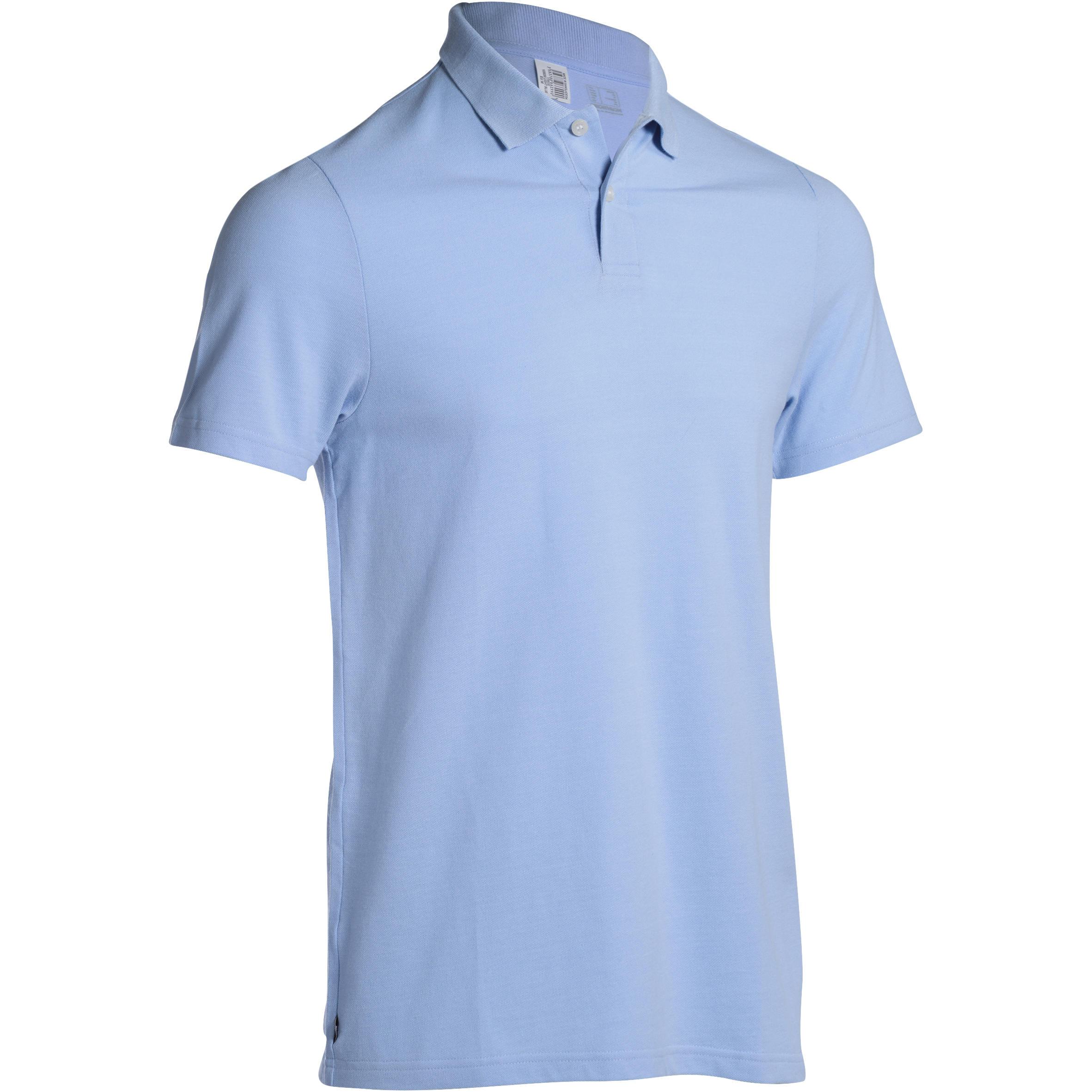Polo de golf hombre manga corta 100 tiempo caluroso azul cielo
