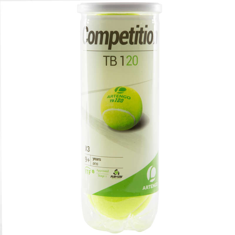 MINGI TENIS Sporturi cu racheta - Set de 3 mingi Tenis TB120 ARTENGO - Echipament pentru cluburi si competitii