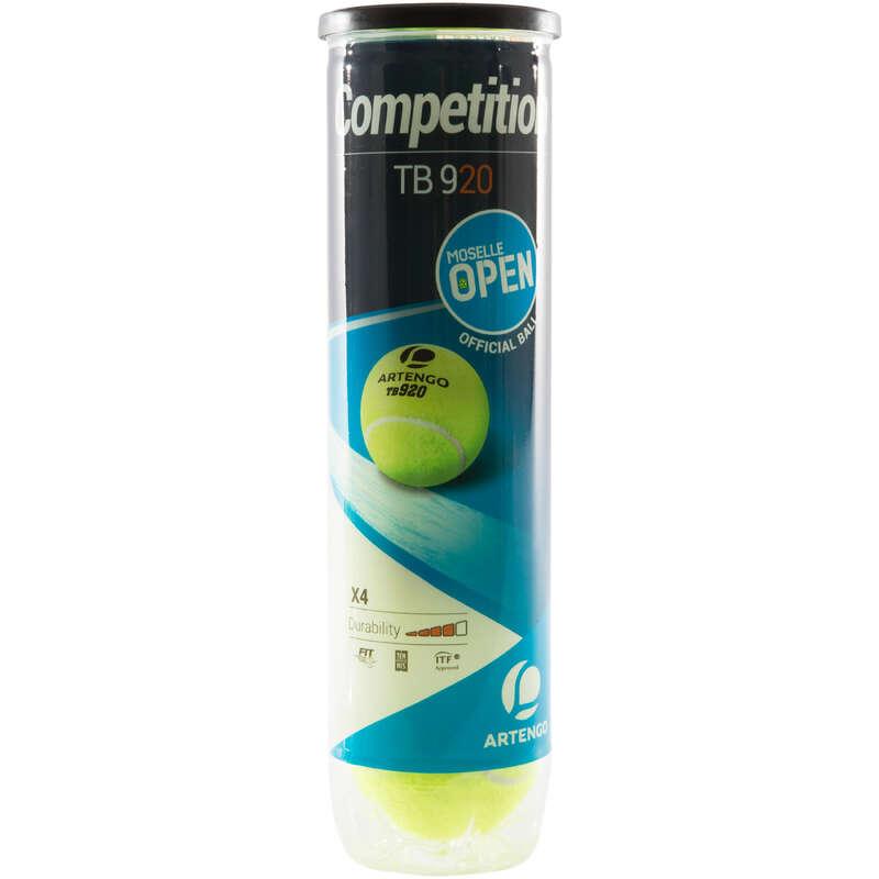 PIŁKI TENISOWE Tenis - Piłka TB920 *4 żółta ARTENGO - Sprzęt do tenisa